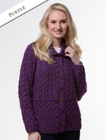Honeycomb Button-Up Cardigan - Purple