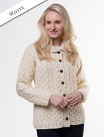 Honeycomb Button-Up Cardigan - White