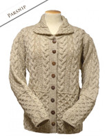Honeycomb Button-Up Cardigan-  Parsnip