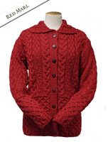 Honeycomb Button-Up Cardigan - Red Marl