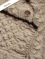 Pattern and Button Detail of Double Collar Merino Aran Coat