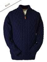 Zip-Neck Aran Sweater - Navy