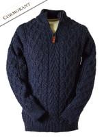 Zip-Neck Aran Sweater - Cormorant
