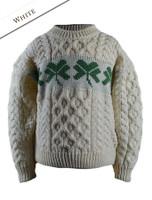 Kid's Merino Wool Shamrock Sweater - Natural White