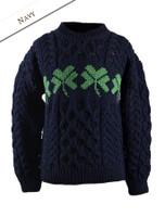Kid's Merino Wool Shamrock Sweater - Navy