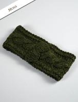 Women's Aran Cable Headband - Moss Green