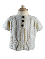 Baby/Toddler Aran Cardigan with Short Sleeves - Natural White