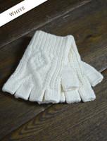 Fingerless Gloves - White