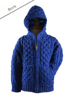 Kid's Hooded Cardigan with Pockets - Blue Marl