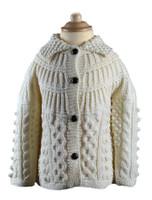 Kids Handknit Collar Cardigan - Natural White