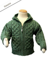 Kids Handknit Collar Cardigan - Green