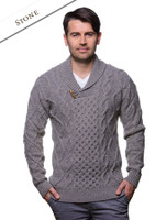 Aran Shawl Neck Fisherman Sweater - Stone