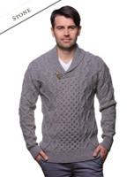 Aran Shawl Neck Fisherman Sweater - Stone
