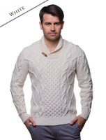 Aran Shawl Neck Fisherman Sweater - Natural White
