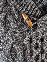 Aran Shawl Neck Fisherman Sweater - Detail