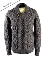 Aran Shawl Neck Fisherman Sweater - Tobacco