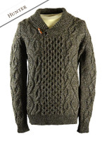 Aran Shawl Neck Fisherman Sweater - Hunter