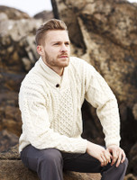 Shawl Neck Honeycomb Sweater - Natural White