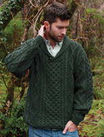 Shawl Neck Honeycomb Sweater - Army