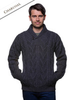 Shawl Collar Sweater - One Button Fisherman Sweater - Charcoal