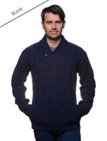 Shawl Collar Sweater - One Button Fisherman Sweater - Navy