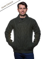Shawl Collar Sweater - One Button Fisherman Sweater - Army Green