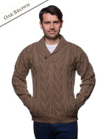 Shawl Collar Sweater - One Button Fisherman Sweater - Oak Brown