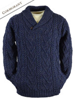 Shawl Collar Sweater - One Button Fisherman Sweater - Cormorant