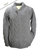 Shawl Collar Sweater - One Button Fisherman Sweater - Grey