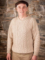 Merino Wool Diamond Sweater Mens - Parsnip