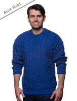 Merino Wool Diamond Sweater Mens - Blue Marl