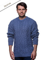 Merino Wool Diamond Sweater Mens - Denim