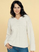 Women's Keyhole Crew Neck Sweater - Natural White