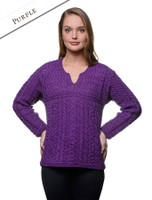Women's Keyhole Crew Neck Sweater - Purple