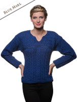 Women's Keyhole Crew Neck Sweater - Blue Marl
