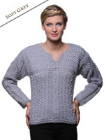 Women's Keyhole Crew Neck Sweater - Soft Grey