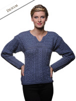 Women's Keyhole Crew Neck Sweater - Denim