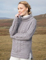 Wool Cashmere Aran V-neck Cardigan - Soft Grey