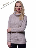 Aran Cowl Neck Tunic Sweater - Wicker