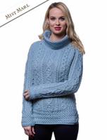 Aran Cowl Neck Tunic Sweater - Misty Marl