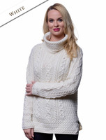 Aran Cowl Neck Tunic Sweater - Natural White