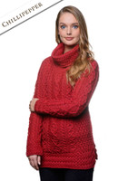 Aran Cowl Neck Tunic Sweater - Chillipepper