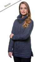 Aran Cowl Neck Tunic Sweater - Derby