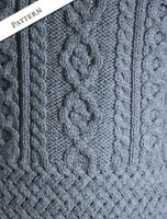 Pattern Detail of Aran Cowl Neck Tunic Sweater