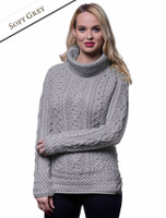 Aran Cowl Neck Tunic Sweater - Soft Grey