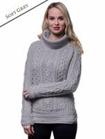 Aran Cowl Neck Tunic Sweater - Soft Grey