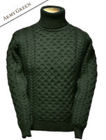 Merino Aran Turtleneck Sweater - Army Green