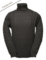 Merino Aran Turtleneck Sweater - Charcoal