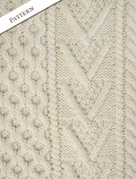Pattern Detail of Handknit New Wool Honeycomb Stitch Aran Sweater