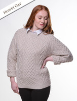 Handknit New Wool Honeycomb Stitch Aran Sweater - Honey Oat